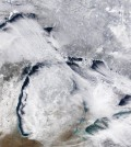 Great Lakes ice cover was 12.3% on January 19, 2016. (Credit: NOAA / GLERL)