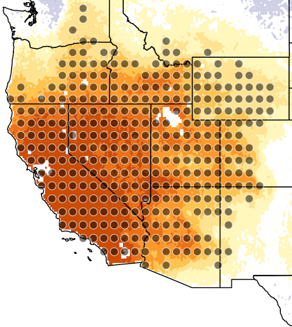 Map showing precipitation changes resulting in a drier American Southwest. The gray dots represent statistically significant precipitation changes. (Credit: Andreas Prein)