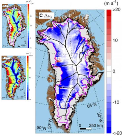 Greenland's average ice speed over the last nine thousand years (top left), its current speed (bottom left) and the difference between them (right). (Credit: Joseph A. MacGregor)