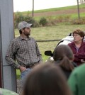 A farmer talks with Bucknell University students about runoff coming from his land. (Credit: Bucknell University)