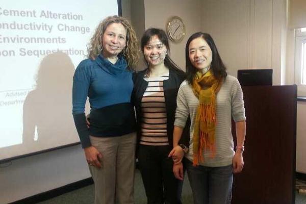 Co-authors from left to right: Zuleima Karpyn, Peilin Cao, Li Li. (Credit: Peilin Cao)