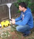 Steve Decina with LI-COR automated soil efflux system. (Credit: Steve Decina)