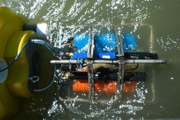 Sensor package, including a YSI EXO water quality sonde, mounted to the buoy's instrument cage. (Credit: Scott Nagel / U.S. Geological Survey California Water Science Center)