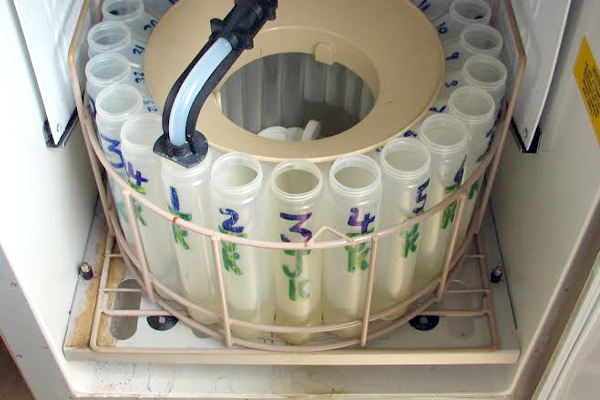 Bottles sit inside an automated sampler. (Credit: National Center for Water Quality Research)