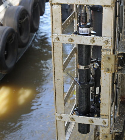 A monitoring station including a nitrate sensor on the Lower Mississippi River. (Credit: USGS)