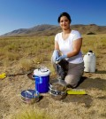 Vanessa Bailey checks soil samples in 2008 during a nearly two-decade-long analysis of microbial activity in soil. (Credit: PNNL)