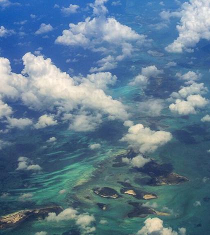 Clouds over small Caribbean islands. (Credit: Adam Wilson / University at Buffalo)