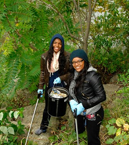 Students participating in Earth Day events. (Credit: University of Michigan - Flint)