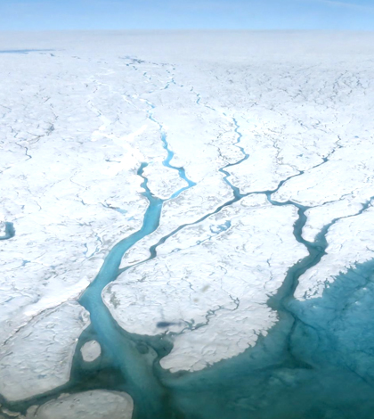 Rivers of melted ice on Greenland. (Credit: Maria-José Viñas / NASA Earth Science News Team)
