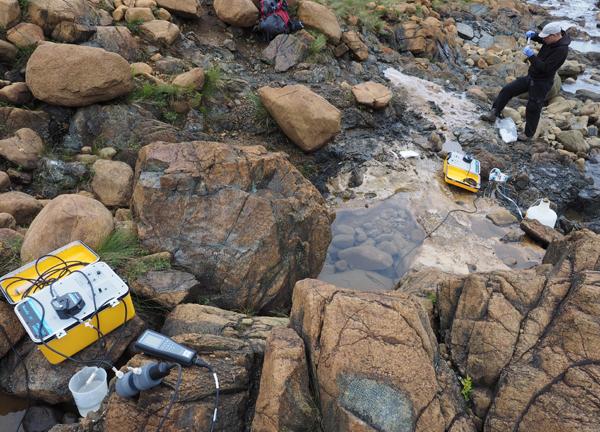 Lukas Kohl, a student at Memorial University of Newfoundland, overlooks a sampling site. (Credit: William Brazelton / University of Utah)