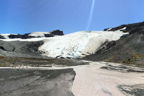 A glacier site monitored by the Nooksack Indian Tribe. (Credit: Jezra Beaulieu / Nooksack Indian Tribe)