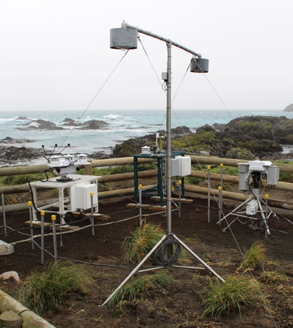 Instruments, installed in late March, will record just how cloudy it is in the Southern Ocean, how much sunlight reaches the surface, and how much water is in the clouds. (Credit: Jeff Aquilina / University of Washington)
