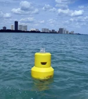 Buoy deployed in Lake Michigan near Chicago beaches. (Credit: Michigan State University College of Engineering)