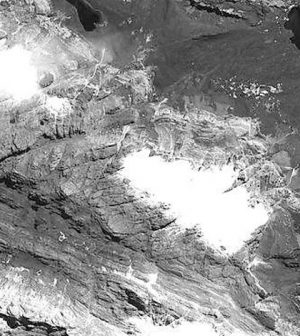Satellite images show a glacial retreat in Papua New Guinea. (Credit: Plymouth University)