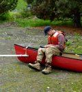Tighe Stuart prepares the Hydrolab MiniSonde for sampling along Hangman Creek. (Credit: Washington Department of Ecology)