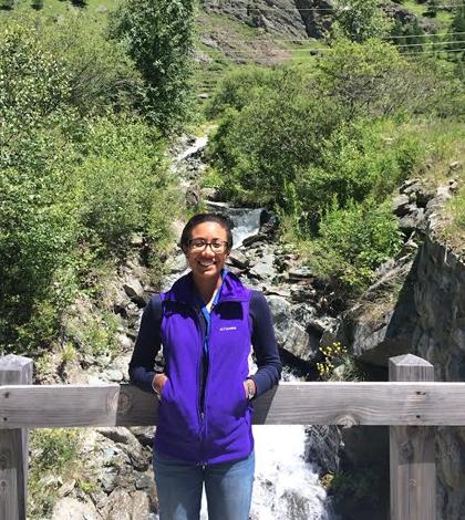 Lauren Lowman at the Alpine Summer School Course XXIII on Land-Atmosphere Interactions in Valsavarenche, Aosta Valley, Italy. (Credit: Lauren Lowman)