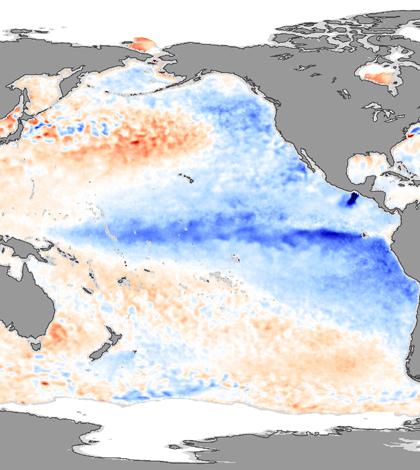 La Niña from December 2007. (Credit: NASA Earth Observatory)