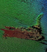 Sonar imaging found the Loch Ness monster movie prop, which sank in 1969. (Credit: Loch Ness Project)