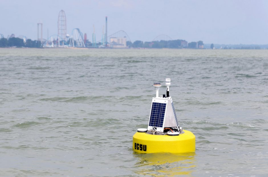 The Bowling Green State University data buoy in the Sandusky Bay near Cedar Point. (Credit: Bowling Green State University)