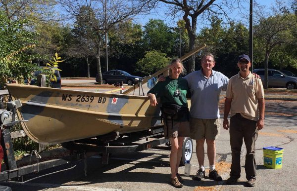 Professor Joy Wolf, Dr. Stephen Lyon, and Ben Haas at Quarry Lake before launching floating islands.